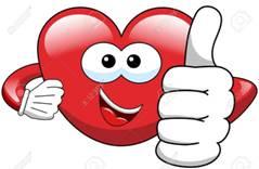 Cartoon heart with thumb up isolated