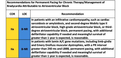 Recommendations for Permanent Pacing for Chronic Therapy/Management of Bradycardia Attributable to Atrioventricular Block. COR. LOE. Recommendation. IIa. B-NR. In patients with an infiltrative cardiomyopathy, such as cardiac sarcoidosis or amyloidosis, and second-degree Mobitz type II atrioventricular block, high-grade atrioventricular block, or third-degree atrioventricular block, permanent pacing, with additional defibrillator capability if needed and meaningful survival of greater than 1 year is expected, is reasonable. In patients with lamin A/C gene mutations, including limb-girdle and Emery Dreifuss muscular dystrophies, with a PR interval greater than 240 ms and LBBB, permanent pacing, with additional defibrillator capability if needed and meaningful survival of greater than 1 year is expected, is reasonable.